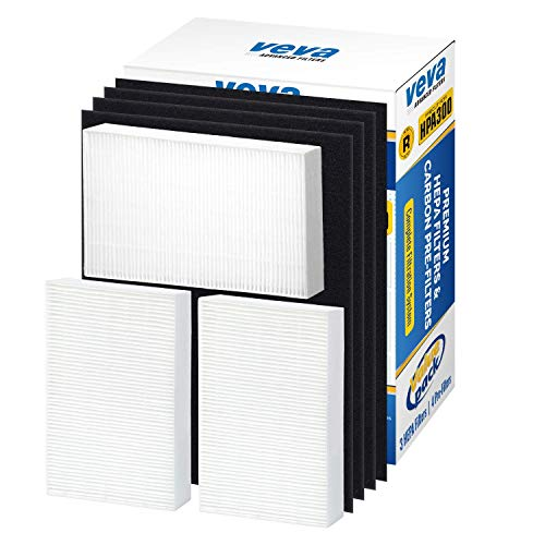 - VEVA Premium HEPA Replacement Filter 3 Pack Including 4 Precut Activated Carbon Pre-Filters for HPA300 compatible with HW Air Purifier 300 and Filter R