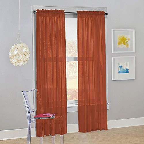"Decotex Set of 2 Sheer Voile Transparent Window Panel Curtain Drapes (54"" W X 63"" L, Brick)"