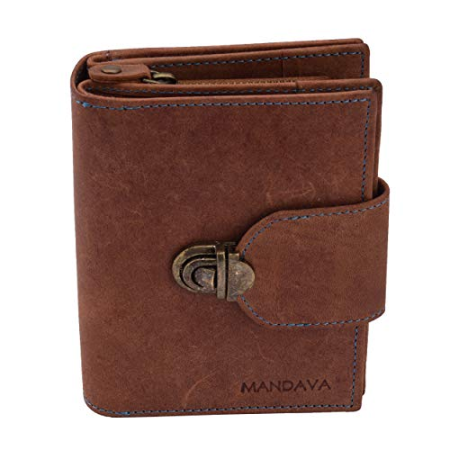 (MANDAVA Women's Top Grain Genuine Leather Wallet with Push Lock RFID Wallet Brown with 10 Card Slots Coin Pouch 3A)