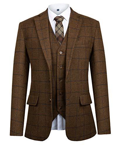 - CMDC Men Suit Slim Fit Tweed Wool Blend Herringbone Vintage Tailored Modern Fit Suit SI175-SPV-Brown Plaid-54R