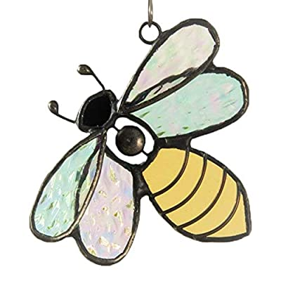Bee Ornament Sun Catcher Stained Glass Bumble Bee Window Hanging Décor Gift for Gardener ORN 175: Home & Kitchen