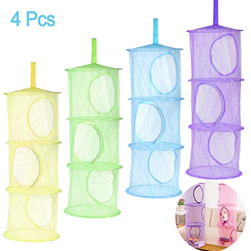4Pcs Hanging Mesh Space Saver Bags Organizer, Hatisan Foldable 3 Compartments Toy Storage Basket for Travel, Kids Room, Bathroom and Balcony - Portable & Practical(Assorted Colors)