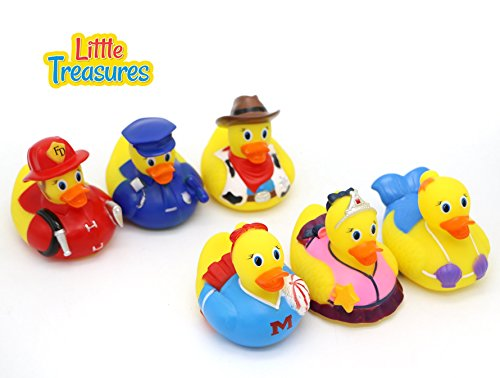 Little Treasures Rubber Duck baby bath toys for all infants and toddlers, a set of six squirts, perfect size and softness for little (Treasures Set)