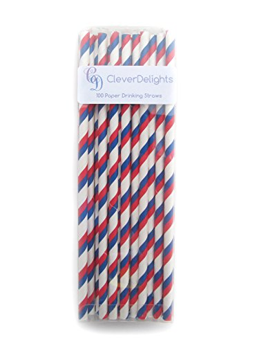 Red Stripe Paper Straws (CleverDelights Biodegradable Paper Straws - Red and Blue Stripe - Box of 100)
