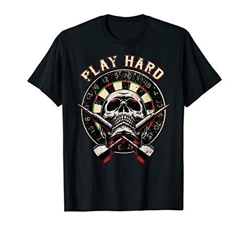 Darts Shirt Play Hard Skull Arrow dartboard bullseye Team