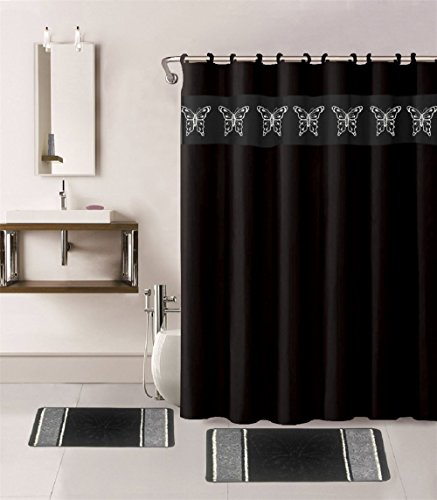 - WPM 15 Piece Multi Color Jacquard Bath rug Set. Butterfly Collection Shower Curtain Matching rings and Bathroom mats choose from Purple sage chocolate black burgundy navy orange turquoise (Black)