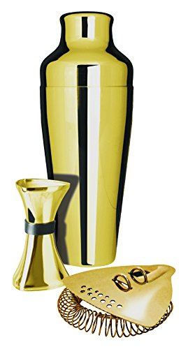 Uber Shaker, Measure & Strainer Gift Set, Gold