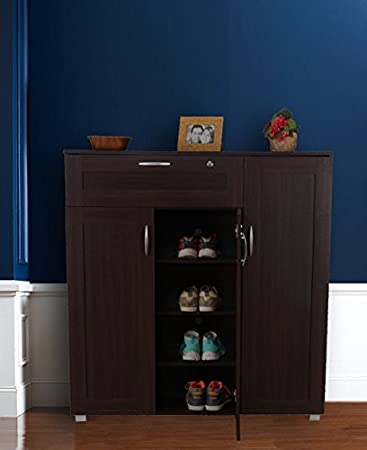HomeTown Morley Engineered Wood Shoe Storage Rack in Wenge Color