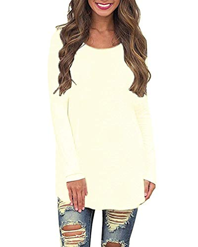 (Newbby Womens Long Sleeve Crew Neck Plain Loose Fit Casual Shirt Tunic Tee Tops (S, Ivory Shirt))