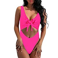 SARA SWIM Women's Tie Front Cut Out One Piece Swimsuit Beachwear High Leg Bottom