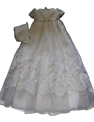 - Faithclover Christening Dresses Baby Flower Girls Infant Long Swing Lace Gowns Bonnet (Ivory, Preemie)