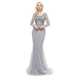 Pearl Lace Crystal Mermaid Dresses