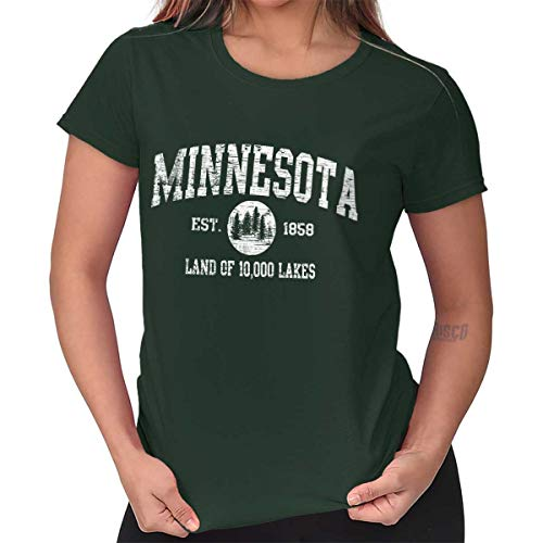 Minnesota State Vintage EST Retro Hometown Ladies T Shirt Forest Green