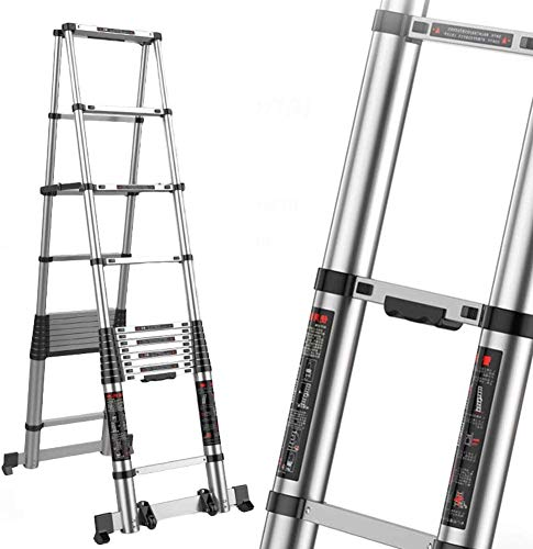 lqgpsx 4.7M+4.7M Aluminum Telescoping Ladder, A-Frame Lightweight Portable Multi-Purpose Folding Extension Ladders with…