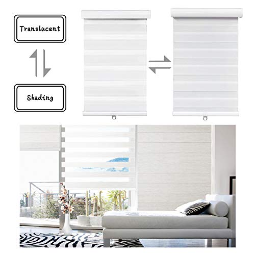 SMT- [(W)72″ x (H)72″] White Zebra Roller Blinds Shades, Dual Layer, Cordless, Sheer or Privacy Light Control, Day and Night Window Drapes, Easy to Install, Striped Dove [P/N: ET-ZB-W-72]