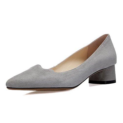 Zapatos grises de punta redonda Caspar Fashion para mujer NTtRj4dR