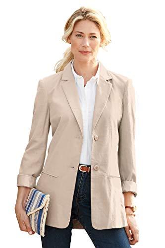 Chadwicks of Boston Womens Long Length Linen Blazer | Casual and Work Blazer Oatmeal