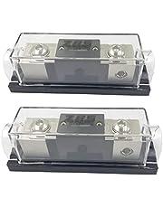 ZBSJAKU 1/0GA or 4 Gauge AWG in-Line ANL Fuse Holder Square ANL Fuse Holders with 150 Amp Fuse Fuse Block 2PACK