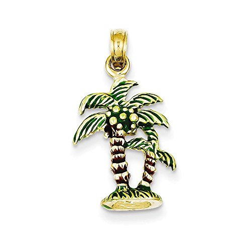14k Enameled Palm Trees Pendant