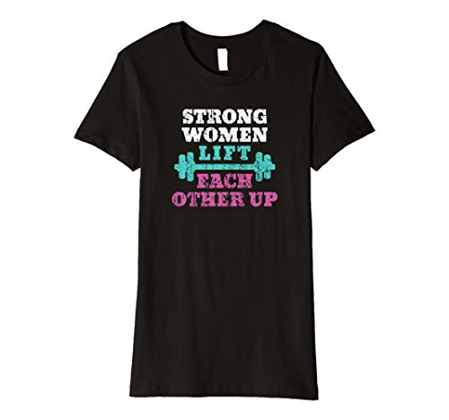 Women's Distressed Strong Women Lift Each Other Up Graphic T-Shirt Large Black (Lift Strong)