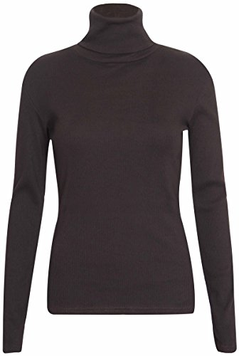Jersey elástico de manga larga para mujer, diseño acanalado marrón oscuro