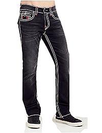 True Religion Men's Straight Leg Relaxed Fit w/ Flap Ropestitch Jeans in Dark Desire