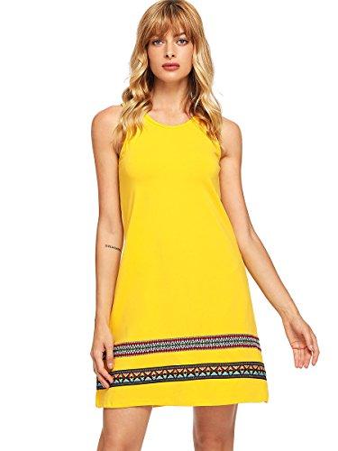Romwe Women's Summer Boho Sleeveless Embroidered Hem Cotton Loose Casual Tank Dress Yellow M