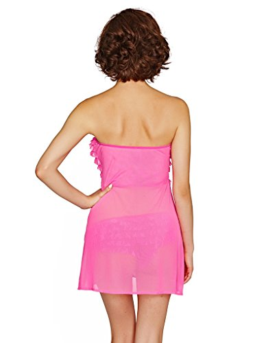 Mio Sexy Paloma Pink Ruffle-top Chemise and Brief Set B2707E