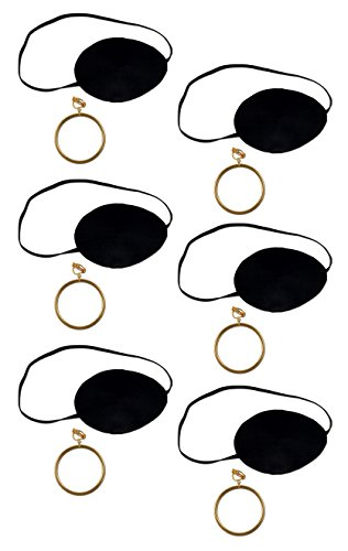Beistle S60749AZ6 6 Sets Pirate Eye patch with Plastic Gold Earring, Black/Gold