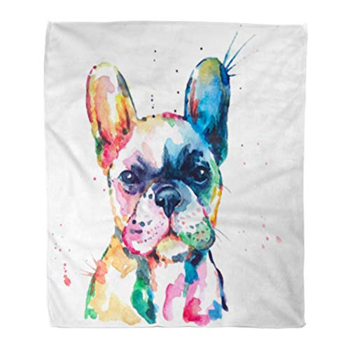 Golee Throw Blanket Frenchie French Bulldog Original Watercolor of Dog Funny Happy Rainbow 50x60 Inches Warm Fuzzy Soft Blanket for Bed Sofa ()