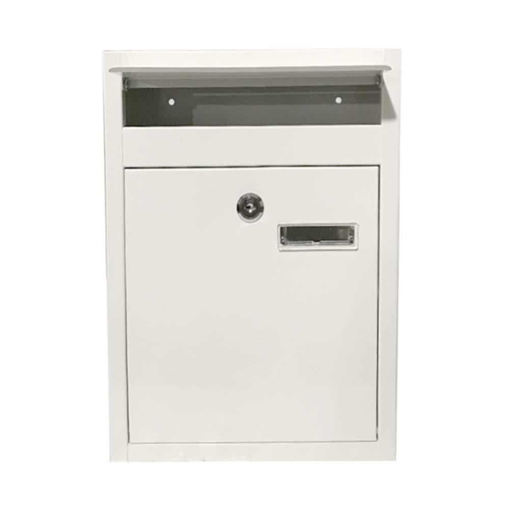 RMJAI メールボックス ウォールマウントロッキングメールボックス、安全なレターボックス、2つのキー付き防水ポストボックス (色 : 白)  白 B07RC4V7HL