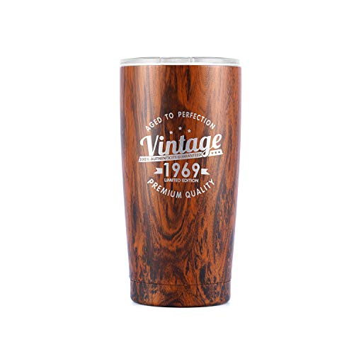 Vintage 1969 50th Birthday Gifts Men Women Insulated Stainless Steel Tumbler   50 Year Old Presents 20 oz Wood Pattern   Best Gift for Mom Dad Wife Husband   50th Party Decorations Supplies (Birthday Present Ideas For 50 Year Old Man)
