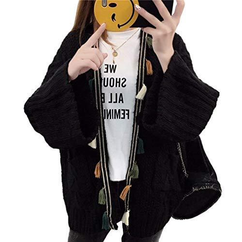 Streetwear Mode Top Casual Moda Schwarz Marca A Monocromo Autunno Giacca Giubotto Donna Comodo Manica Baggy In Lunga Giaccone Tassels Di Maglia Swag gwZzFqU