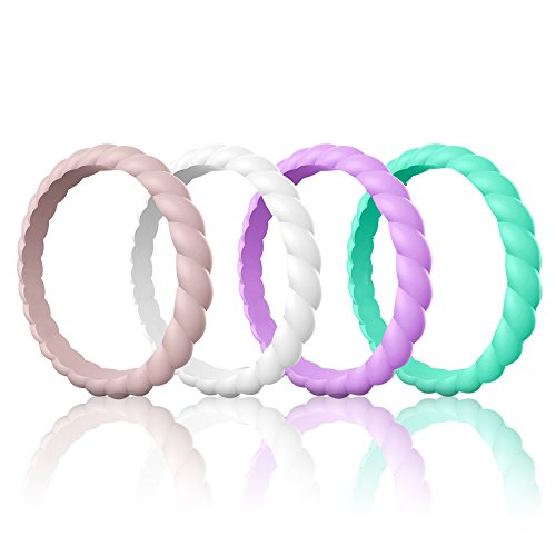 (Egnaro Silicone Wedding Ring for Women, Thin and Stackable Rubber Wedding Bands,Women Twist Braided Band Rings,Size 4-8,Comfortable fit,No-Toxic,Skin Safe)