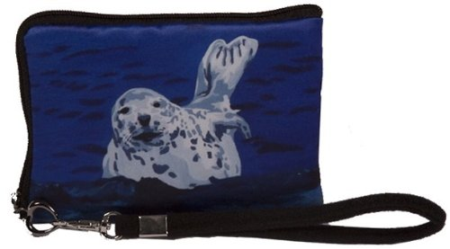 Seal Small Zip Around Wristlet - Wearable Art - Support Wildlife Conservation, Read How (Seal - Playful Pup) - Playful Seal