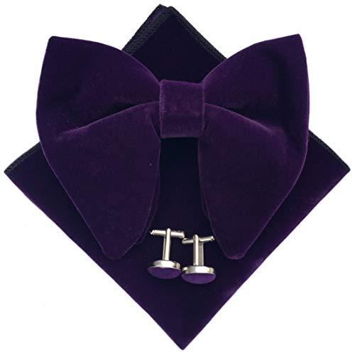 Mens Pre-Tied Oversized Bow Tie Tuxedo Velvet Bowtie Cufflinks Hankie Combo Sets (Purple) ()