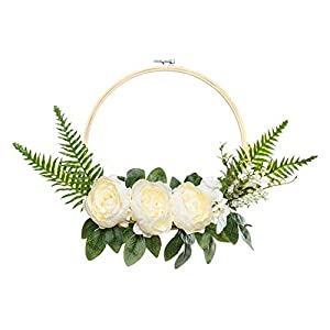 UNIQOOO Set of 3 Floral Hoops Wreaths   Modern Chic Artificial White Peony Fern Flower Wall Hoop Garland   Perfect for Wedding Decor Bridal Shower Farmhouse Decoration Photo Prop Welcome Wreath 4