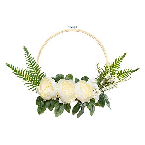 UNIQOOO-Set-of-3-Floral-Hoops-Wreaths-Modern-Chic-Artificial-White-Peony-Fern-Flower-Wall-Hoop-Garland-Perfect-for-Wedding-Decor-Bridal-Shower-Farmhouse-Decoration-Photo-Prop-Welcome-Wreath