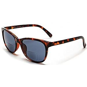 Samba Shades Bi-Focal Sun Readers Fashion Wayfarer Sunglasses with Demi Brown Tortoise Shell, Grey Lens, 2.25 Rx Magnification