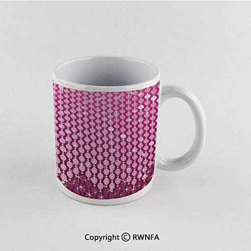 - 11oz Unique Present Mother Day Personalized Gifts Coffee Mug Tea Cup White Magenta,Abstract Oval Diamonds Dangling Image Art Digital Print Design with Ombre Color Decorative,Pink Funny Ceramic Coffee