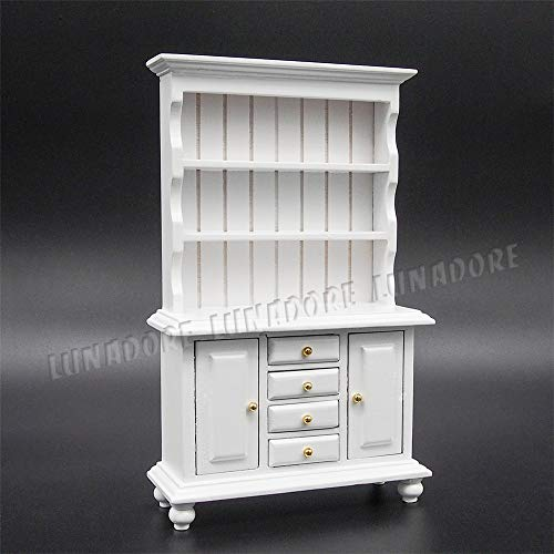 Furniture Toys - 1 12 Miniature White Cupboards With Working Drawer Cabinet Shelving Furniture Dollhouse - Shelf Paint Flowers Clothes Instruments Grill Garden Office Miniature Doll Shop Furn