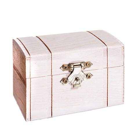 Darice Unfinished Wood Chest Box – Light Unfinished Wood with Curved Top and Clasp – Make Your Own Gift Box, Treasure Chest - Decorate with Paint, Stones, and More – 3.125