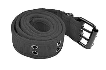 Grommet Belt for Women & Men - Double Hole Grommets Canvas Web Belts - Military Style Belt - 2 Prong Buckle by Belle Donne - Gray