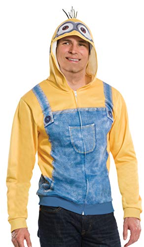 Minion Hoodie For Adults (Rubie's Men's Minion Unisex Hoodie, Yellow,)