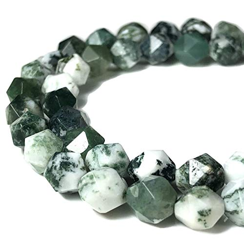Green Tree Agate Beads - [ABCgems] Brazilian Tree Agate AKA Green Dendritic Agate 8mm Precision-Star-Cut Beads for Beading & Jewelry Making