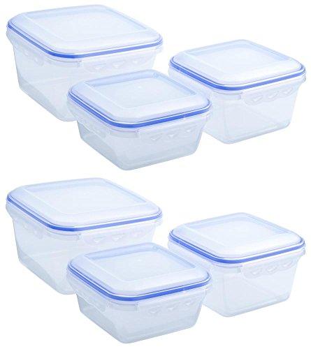 culinario 6er Set Frischhaltedosen, Aufbewahrungsdosen 2x 2,3 Liter, 2x 1,2 Liter und 2x 900 ml, ineinander stapelbar