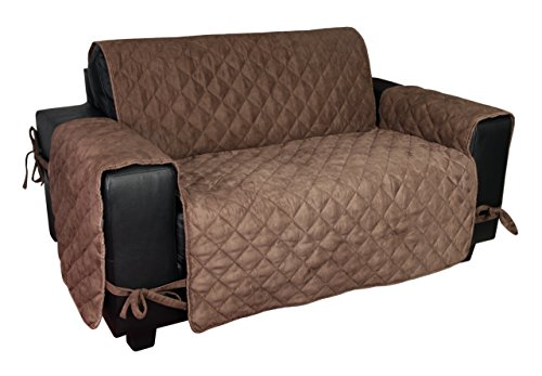 Microfiber Clean Suede - Floppy Ears Design Waterproof Faux Suede Microfiber Stay in Place Couch Protector Furniture Cover (Medium Two Cushion Couch Loveseat, Chocolate)