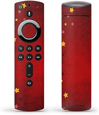 igsticker Fire TV Stick 第2世代 専用 リモコン用 全面 スキンシール フル 背面 側面 正面 ステッカー ケース 保護シール 005956 クール 星 赤 レッド