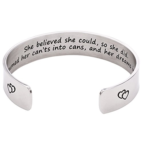 Melix Home She Believed She Could, So She Did Cuff Bracelet (White)