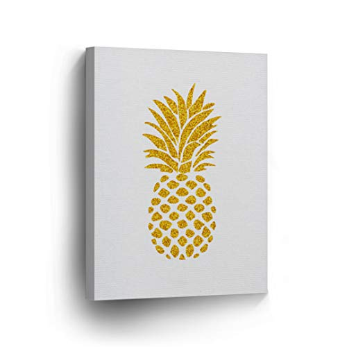 Gold Glitter Pineapple Canvas Print Tropical White Background Decorative Art Wall Decor Artwork Wrapped Wood Stretcher Bars - Ready to Hang -%100 Made in USA - Tropical12-12x8 ()